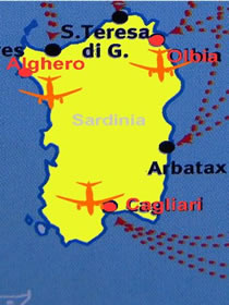 map of airports of sardinia