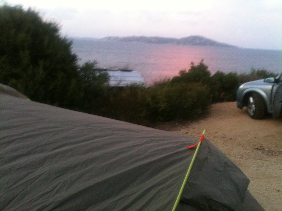 sunrise from a tent in Sardinia